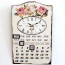 Kovové hodiny na zeď s kalendářem RŮŽE