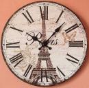 Dřevěné nástěnné hodiny EIFFELOVA VĚŽ
